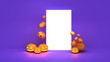 canvas print picture - Scary halloween pumpkin with candle light inside. Flying Orange halloween pumpkins on purple, orange, and grey  background.Hholiday decoration. 3d render