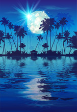 Shining Full Moon In Blue Night Sky With Dark Coconut Palm Trees Silhouettes And Water Reflection. Vector Fullmoon Party Poster Background