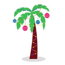 Christmas Palm Tree With Garla...