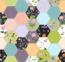 Cute Seamless Patchwork Pattern With Floral Ornament. Quilt Blanket. Print For Fabric.