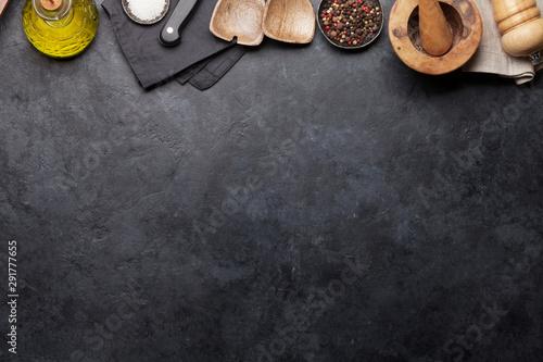 Printed kitchen splashbacks Amsterdam Cooking utensils and spices