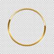 Golden ring isolated on transparent background. Vector golden frame.
