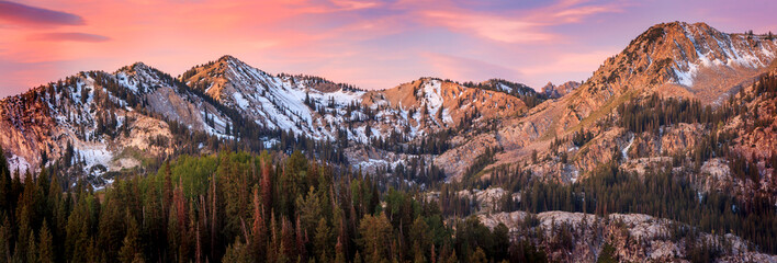 Sunrise panorama in the Wasatch Mountains, Utah, USA.