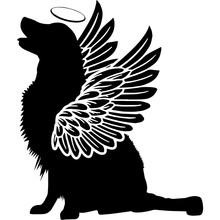 Pet Memorial, Angel Wings Golden Retriever Dog  Silhouette Vector