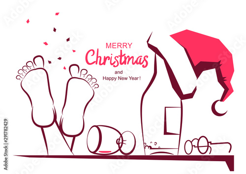 Vászonkép Merry Christmas greeting card with text