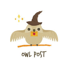 Cute Owl In A Magic Hat With A...
