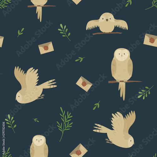 Fototapeten Künstlich Seamless pattern with cute owls and envelopes
