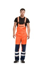 Man In Working Overalls Isolated View