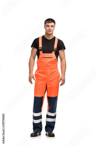 Man in working overalls isolated view Wall mural