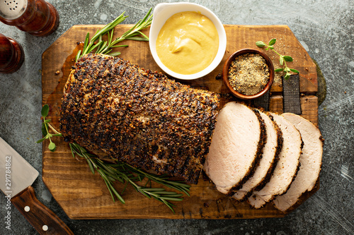 Roasted pork loin with a spicy rub and mustard sauce Fototapeta