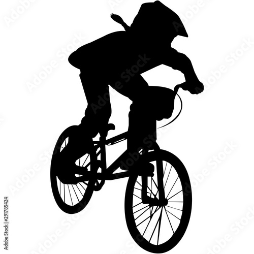 BMX Silhouette Vector Canvas Print
