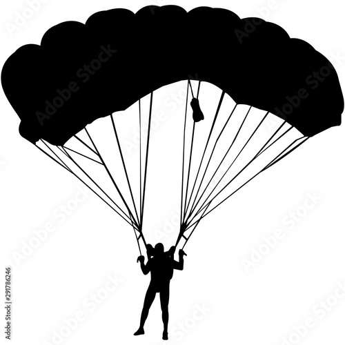 Photo Parachuting Silhouette Vector
