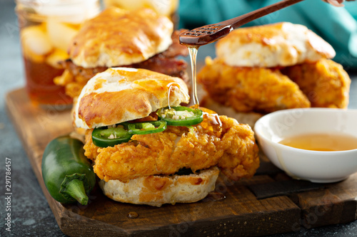 Wall Murals Equestrian Breakfast biscuit sandwiches with fried chicken, traditional southern food
