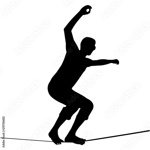 Photo  Slacklining Silhouette Vector