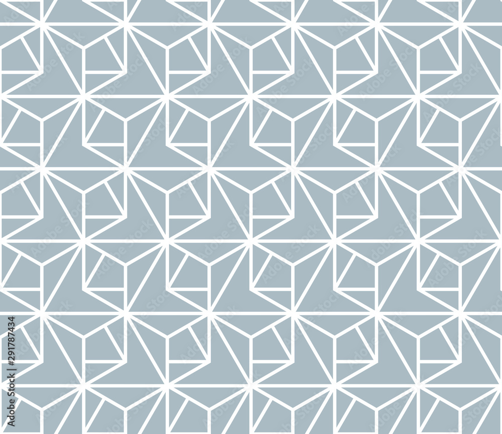 Fototapeta The geometric pattern with lines. Seamless vector background. White and blue texture. Graphic modern pattern. Simple lattice graphic design