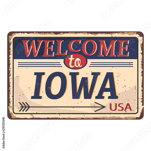 Stand Welcome to Iowa of the United State. Vector illustration. Canvas Print