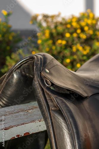 Pommel of black english traditional dressage saddle. Close up.
