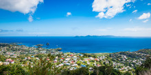 Panoramic Landscape View Of Kingstown City And Caribbean Sea, Saint Vincent And The Grenadines.
