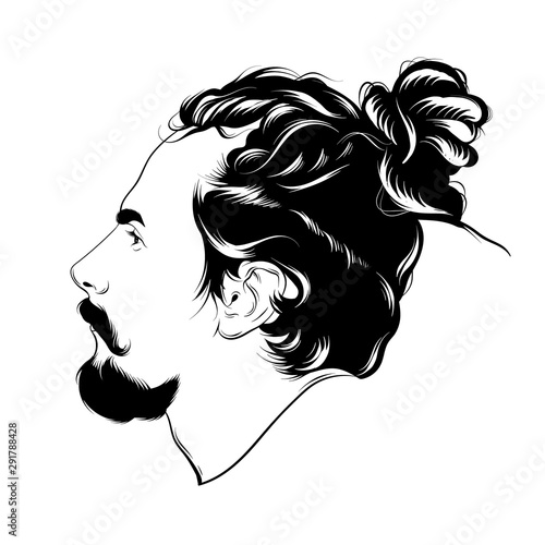 Photo  Vector hand drawn illustration of man with dreadlocks and beard isolated