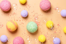 Colorful Bath Bombs, Pink Salt...