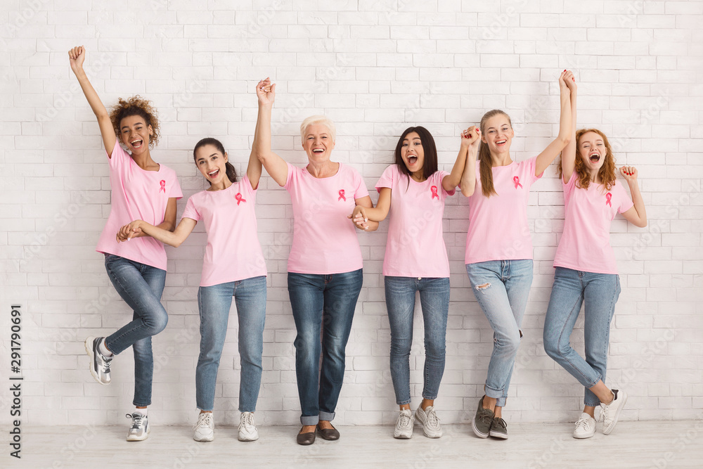 Fototapeta Diverse Ladies In Breast Cancer T-Shirts Celebrating Success Indoor