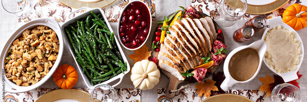 Fototapety, obrazy: Thanksgiving dinner table, overhead shot, long banner