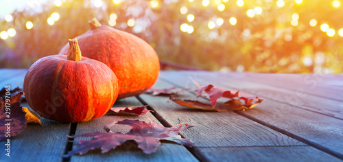 Wall Murals Autumn autumn pumpkin background, thanksgiving holiday party decoration,