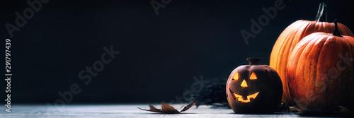 Fotografie, Tablou Jack o Lantern - autumn Halloween holiday concept background