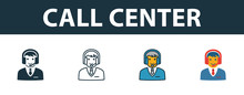 Call Center Icon Set. Premium Symbol In Different Styles From Customer Service Icons Collection. Creative Call Center Icon Filled, Outline, Colored And Flat Symbols