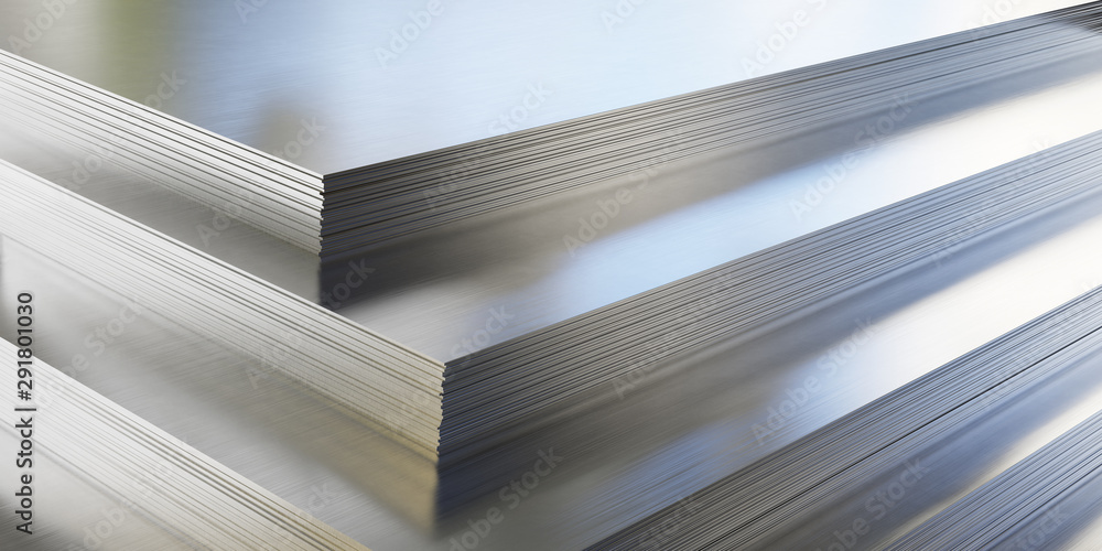 Fototapety, obrazy: Steel or aluminum sheets in warehouse, rolled metal product.