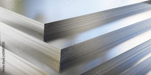 Steel or aluminum sheets in warehouse, rolled metal product. Fototapet