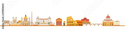 Rome city skyline and colorful silhouette.