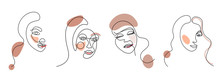 Set Of Four Abstract Face One ...