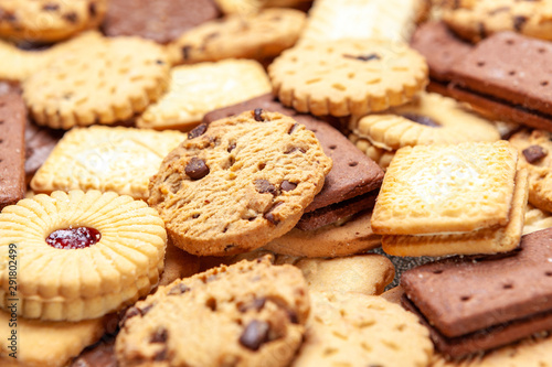 Assorted colse up slection of tea biscuits Fototapete