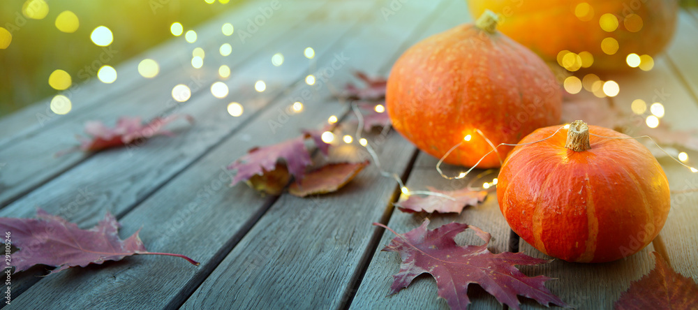Fototapety, obrazy: thanksgiving holiday party background, autumn pumpkin and holidays light decoration