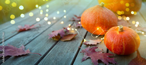 thanksgiving holiday party background, autumn pumpkin and holidays light decoration - 291805246