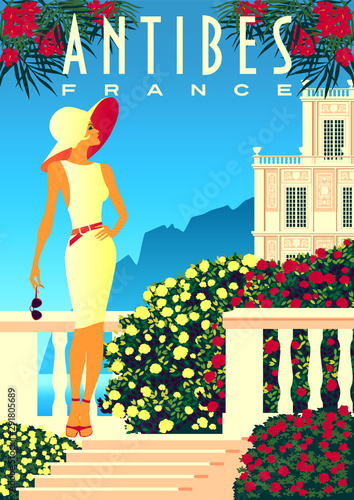 Woman on vacation on French Riviera coast.