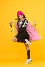 Rebel Teen Girl. Madcap Concept. Teen Age. Girl Adorable Stylish Modern Teenager. Cool Schoolgirl. Have Fun Charismatic Girl On Yellow Background. Teen Spirit. Rebellious Teen. Street Style