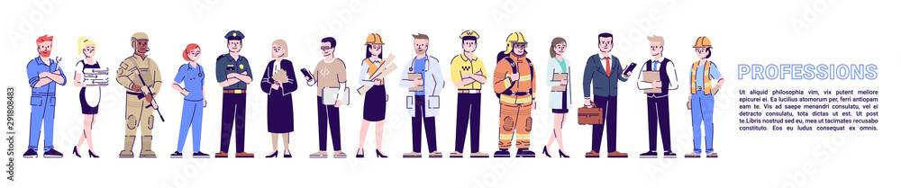 Fototapeta Professions flat banner vector template. Staff, personnel isolated cartoon characters on white with article. Professional workers, labor. Horizontal poster print design layout with place for text