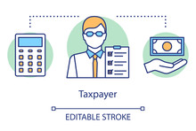 Taxpayer Concept Icon. Businessman Filing Tax Form Idea Thin Line Illustration. Revenue Calculation. Paying Personal Income Tax. Financial Accounting. Vector Isolated Outline Drawing. Editable Stroke