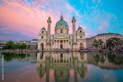 Garden Poster Vienna St. Charles's Church (Karlskirche) in Vienna, Austria