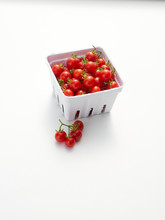A Pint, 550ml, Of Freshly Picked Cherry Tomatoes On White