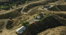 Aerial Helicopter Shot, Zoom In On Santa Clarita Ranch, Solar Panels On Roof, Circle Around It, Drone Footage