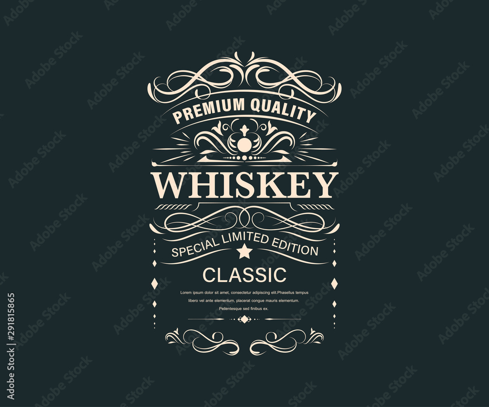 Fototapeta Vintage premium whiskey label banner badges set. Luxury decoration design. Collection banner.