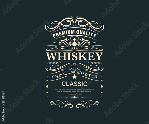 Photo Vintage premium whiskey label banner badges set