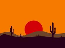 Desert Picture, Illustration, Vector On White Background.