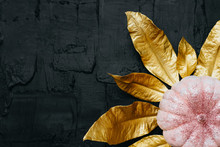 Pink Pumpkin With Glitter And Gold Leaves On Black Background, Creative Concept. Festive Advertising Flat Lay Banner. Halloween Decor Celebration. Trendy Composition Color