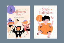 Happy Halloween Character Poster Set With Pumpkin, Bat, Witch And Skeleton Children. Creative Child Design For Promotion