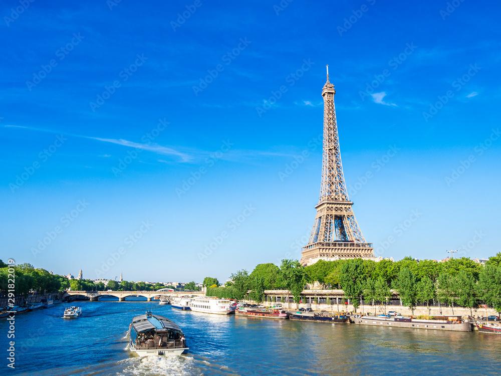 Fototapeta 世界遺産 パリのセーヌ河岸 エッフェル塔