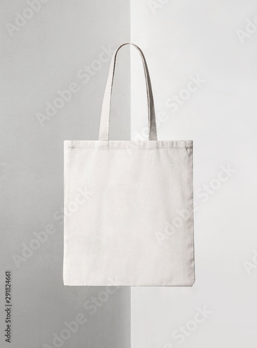 squared white tote bag on shadowed background Canvas Print
